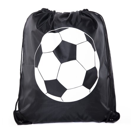 Soccer Party Favors | Soccer Drawstring Backpacks for Birthday Parties, Team events, and much more! (Soccer Themed Birthday Party Supplies)