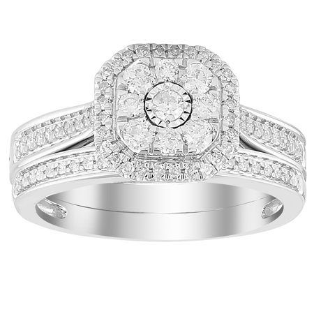 10 Karat White Gold 1/2 Carat Diamond, Octagon Shape Bridal Set