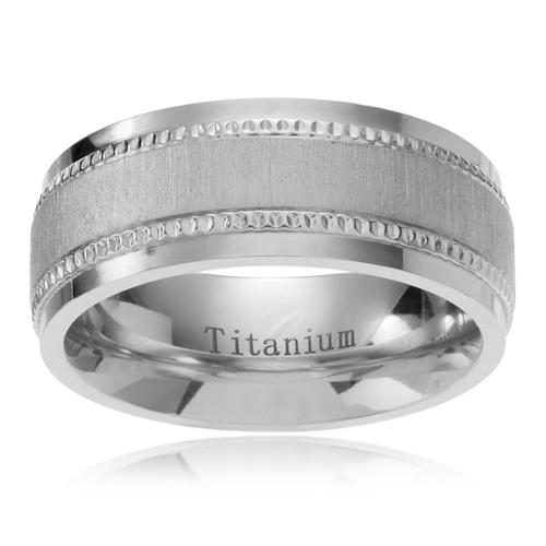 Territory Men's Titanium Satin Center Milgrain Edge Wedding Band