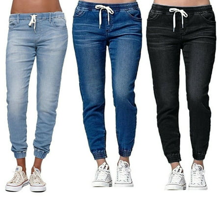 The Noble Collection Womens Elastic Waist Pencil Stretch Denim Skinny Drawstring Jeans Pants Trousers