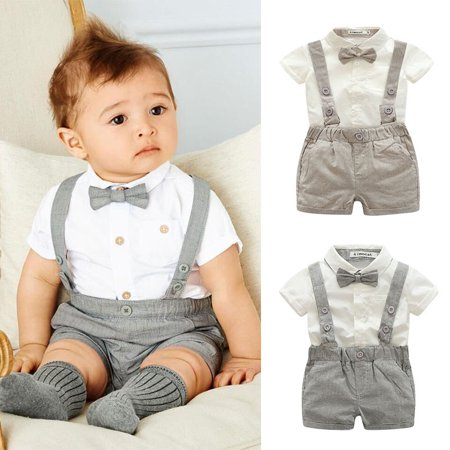 Kacakid Baby Boy Child Toddler Gentleman Suit +Bow Tie+Suspender Trousers Pants Suit Suspenders Style Short Sleeve Shirt + Short 2Pcs Set (Linen Suit For Toddlers)