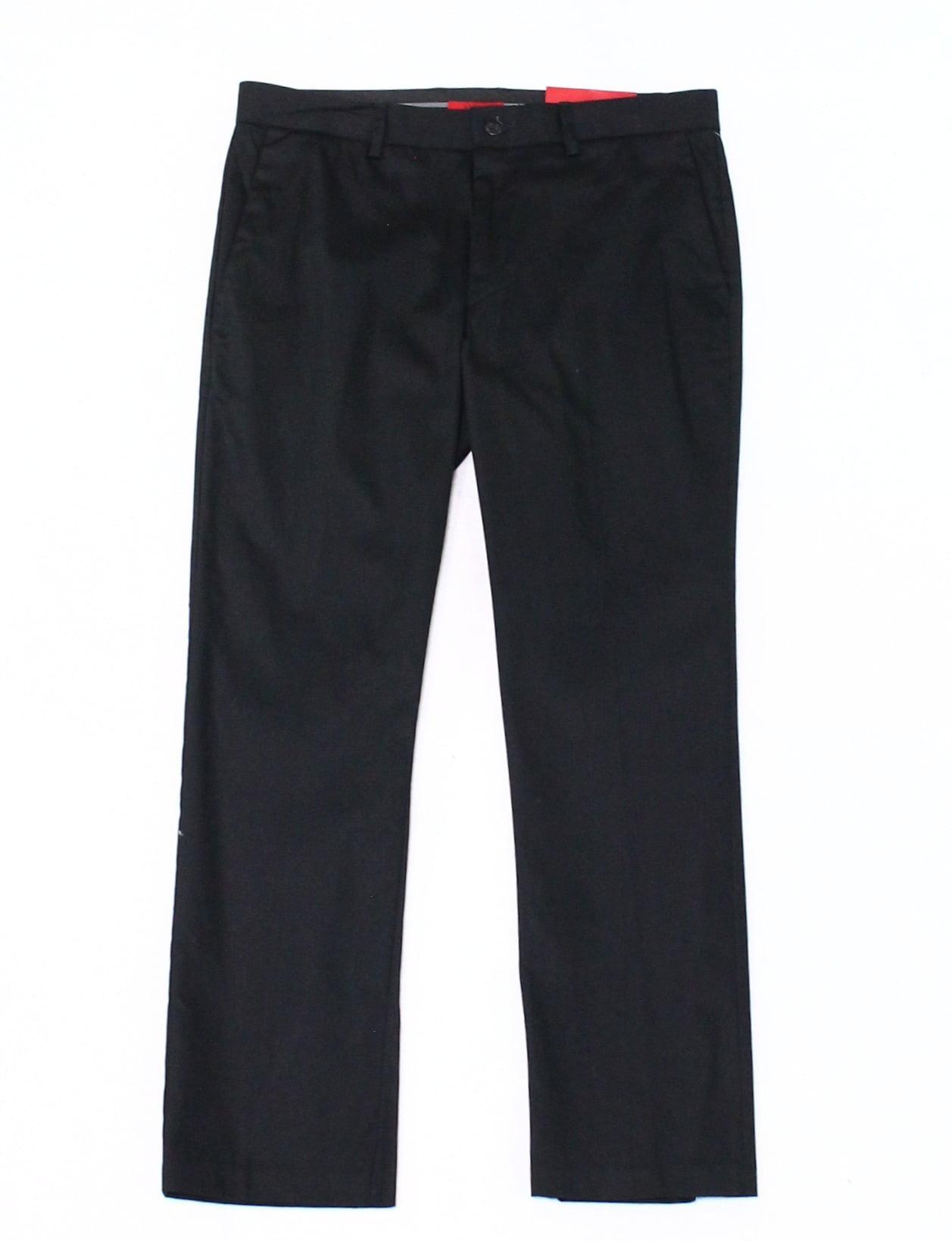 Alfani NEW Black Mens Size 34x29 Stretch Sateen Flat-Front Dress Pants