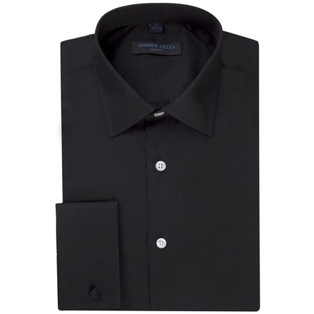 Andrew Fezza Men's Flex Collar Slim Fit French Cuff Solid Dress Shirt - Black - 17.5 6-7 Collar French Cuff Dress Shirt