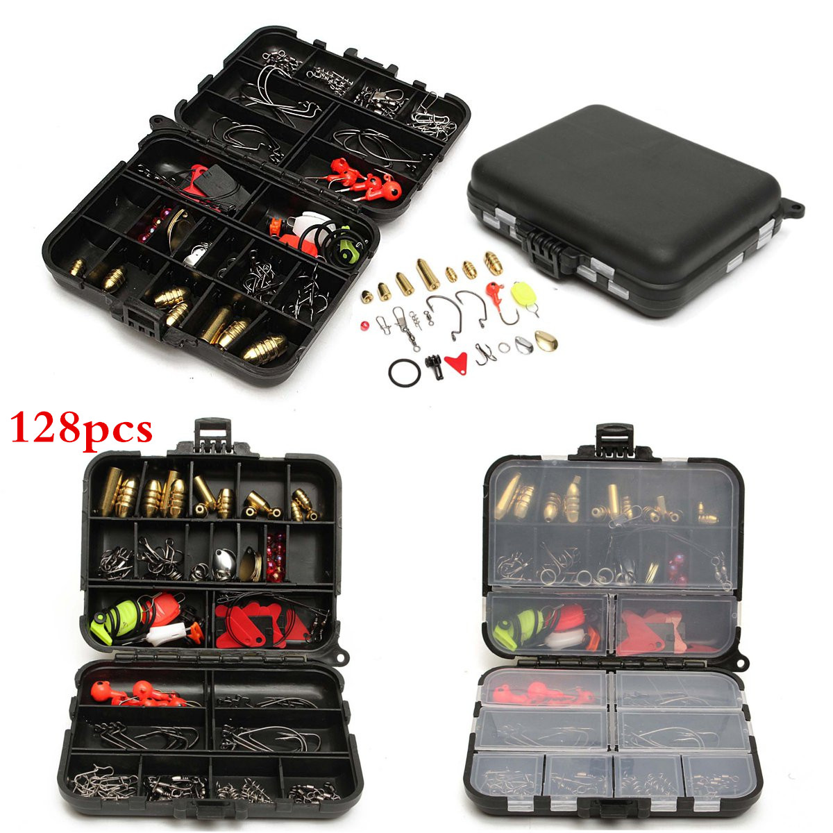 Meigar 128pcs Fishing Lures Hooks Baits Tackle Box Full Storage Case Tool Set for Sea Saltwater Freshwater