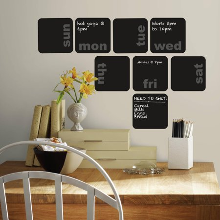 Roommates days of the week planner chalkboard peel and for Peel and stick wallpaper walmart