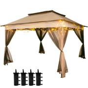 VEVOR Pop Up Gazebo 11' x 11' with Netting Outdoor Canopy Gazebo with 4 Sandbags