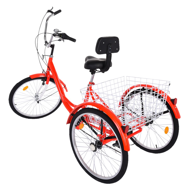 Adult Tricycle 7 Speed Three Wheel Bike Bicycle Rose Red W// Large Size Basket US