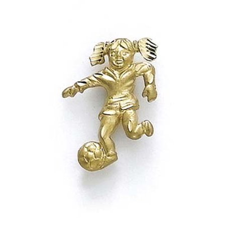 14k Yellow Gold Female Soccer Player Pendant - 1.5 Grams