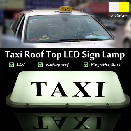 1 X Universal 12V Waterproof PVC Taxi Magnetic Base Roof Top Cars Cab LED Sign Lamp W/ Cigarett New