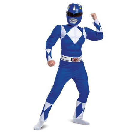 Usc Halloween Costumes (Power Rangers Mighty Morphin Boys Classic Blue Ranger Muscle Halloween)