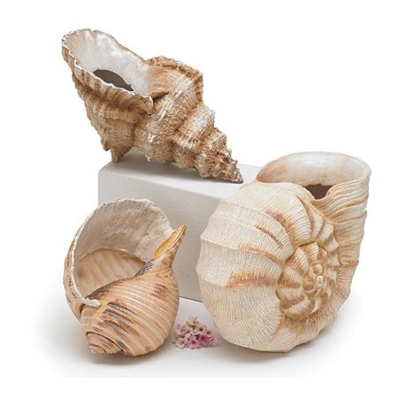 Set of 3 Seashell Planters/vase Great Floral Vase or Decorative Figurines, Hand painted resin vases By Burton Burton