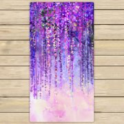 YKCG Wisteria Flowers Tree Purple Violet Floral Hand Towel Beach Towels Bath Shower Towel Bath Wrap For Home Outdoor Travel Use 30x56 inches