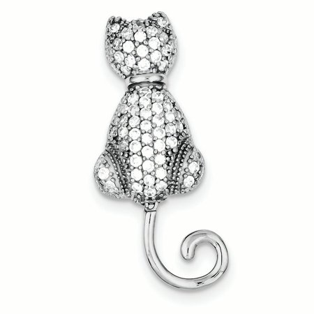 Sterling Silver CZ Cat Pin Solid Sterling Silver Cat Pin
