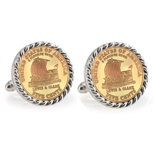 Gold-Layered 2004 Keelboat Silvertone Rope Bezel Coin Cuff Links