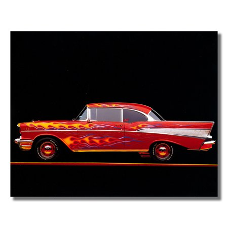 57 Red Flame Chevy Bel Air Car Wall Picture Art Print