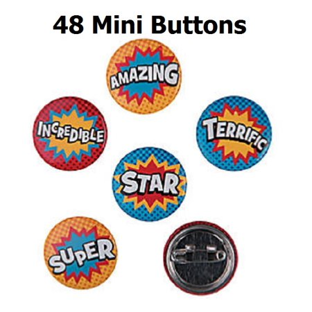 Superhero Sayings Mini Metal Buttons (48 per -