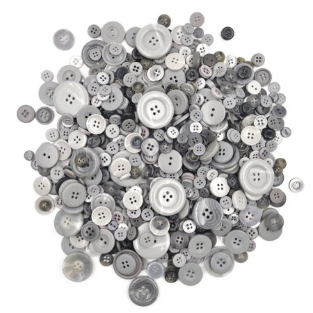 Aspire 660 PCS Resin Buttons for Kids DIY Crafts Assorted Sizes Various Colors-Grey - Handmade Resin Buttons