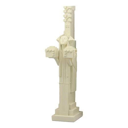 Ebros Frank Lloyd Wright Architecture Midway Gardens White Sprite Holding Two Cubes Statue Reproduction Sculpture 14