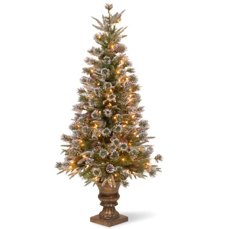 4' Pre-lit Potted Liberty Pine Entrance Artificial Christmas Tree – Clear Lights ()
