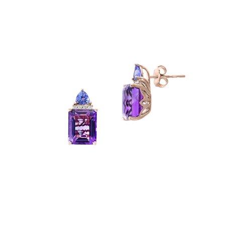 14K Rose Gold, Amethyst, Tanzanite & 0.07 TCW Diamond Stud Earrings Avon Amethyst Earrings