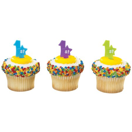 1st Birthday Cupcake / Desert / Food Decoration Topper Picks -24pk