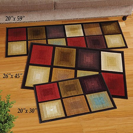Collections Etc Optic Squares Accent Rug ()