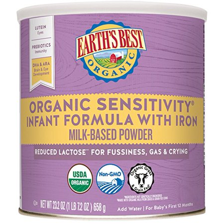 (4 pack) Earth's Best Organic Low Lactose Sensitivity Infant Formula with Iron, Omega-3 DHA & Omega-6 ARA, 23.2 (Best Formula One Car)