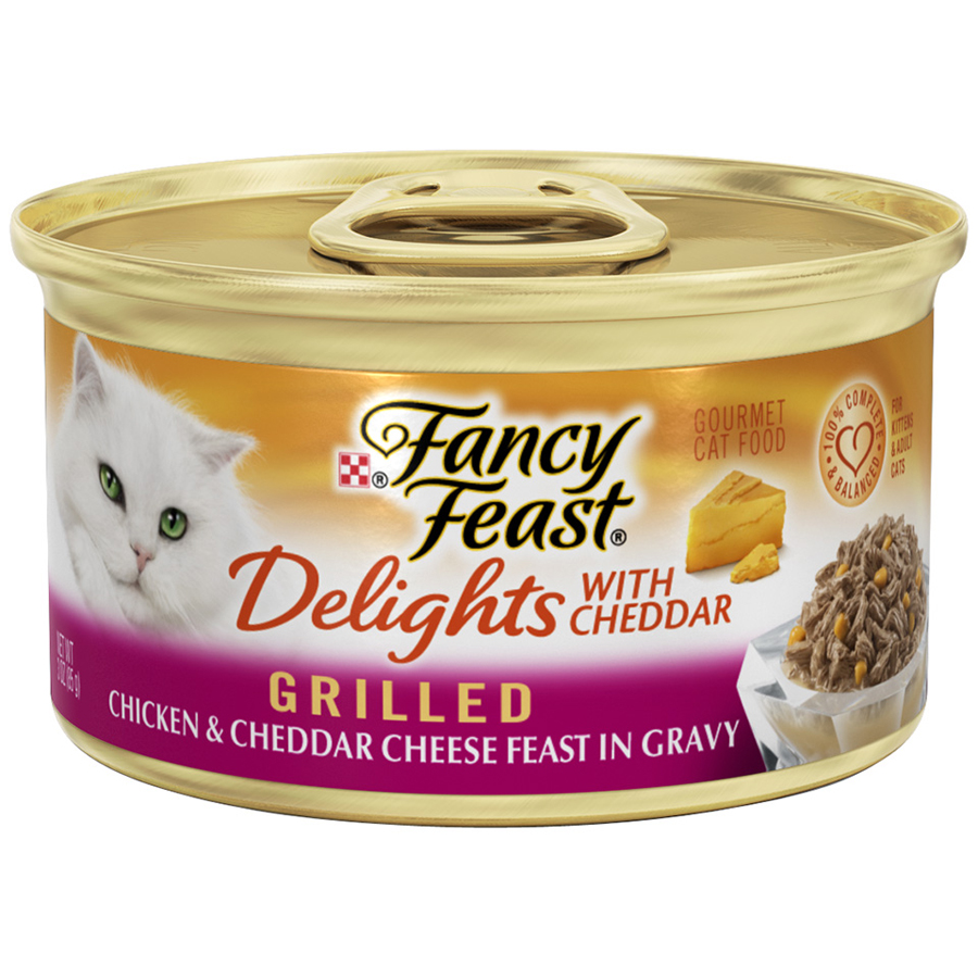 Purina Fancy Feast Delights Grilled Chicken & Cheddar Cheese Feast in Gravy Wet Cat Food- 3-oz. Can