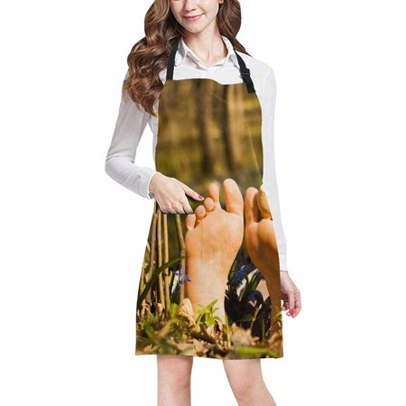 ASHLEIGH Creative Funny Nature Pattern Fence of Palisade and Woman's Feet Adjustable Bib Apron with Pockets Commercial Restaurant and Home Kitchen Adjustable