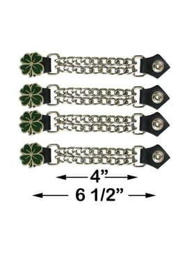 Green 4 Leaf Clover Double Diamond Cut Chrome Chain Vest Extenders (4 Pcs Per Set)