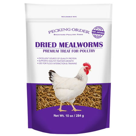 Pecking Order Dried Mealworms Backyard Chicken Treat, 10 oz.