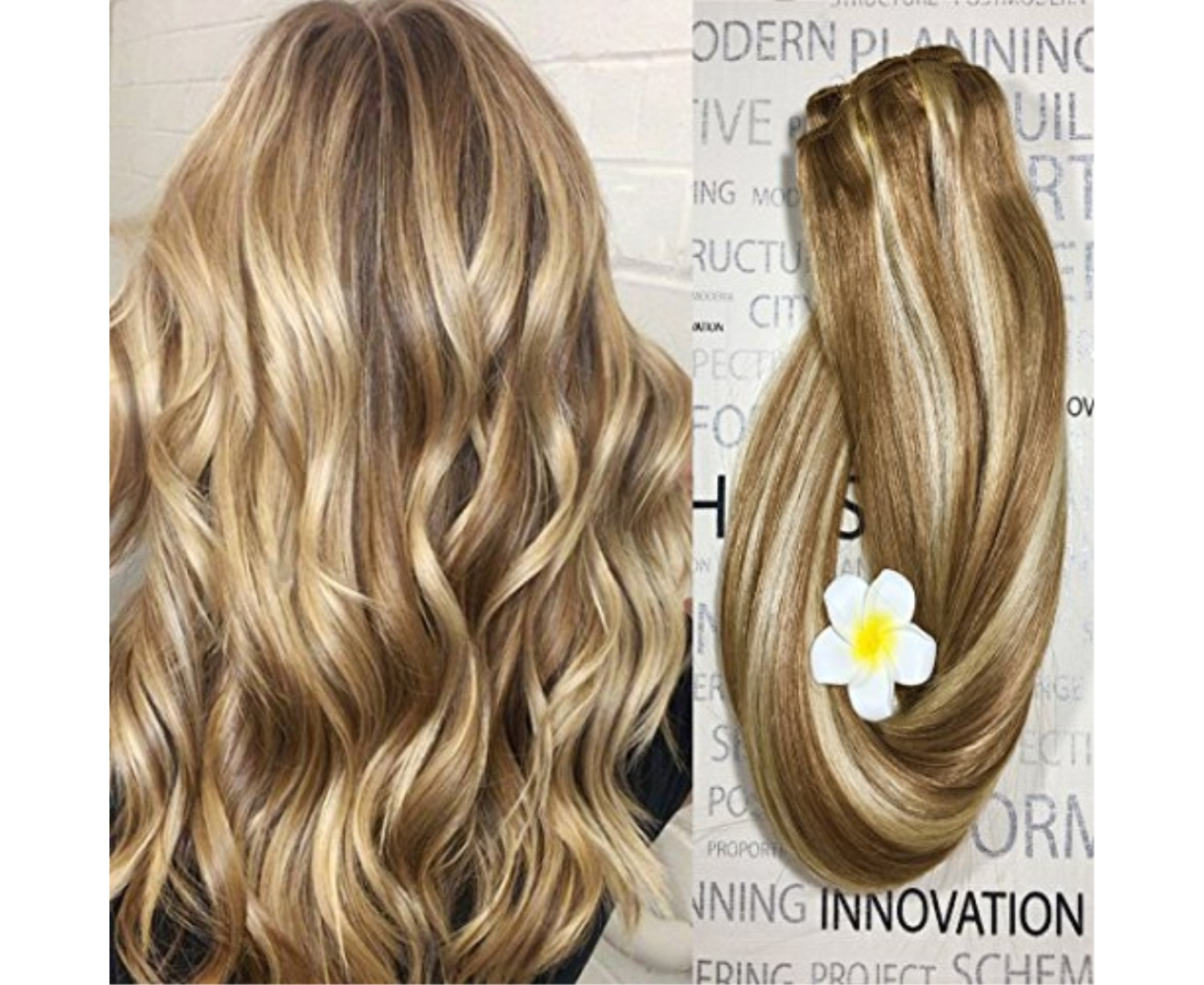 Clip in Hair Extensions Human Hair Dirty Blonde Highlights 16 inch Balayage  Ombre Long Hair Extensions Clip on for Fine Hair Full Head 12/613 Straight