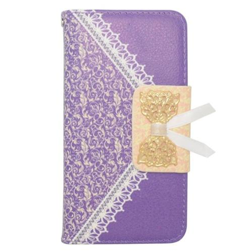 Insten Leather Wallet Cover Case with card slot For Samsung Galaxy Alpha - Purple/Gold