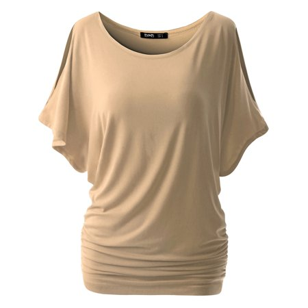 Thanth Womens Short Sleeve Dolman Drape Loose Fit Tunic Top(Plus Size Available)