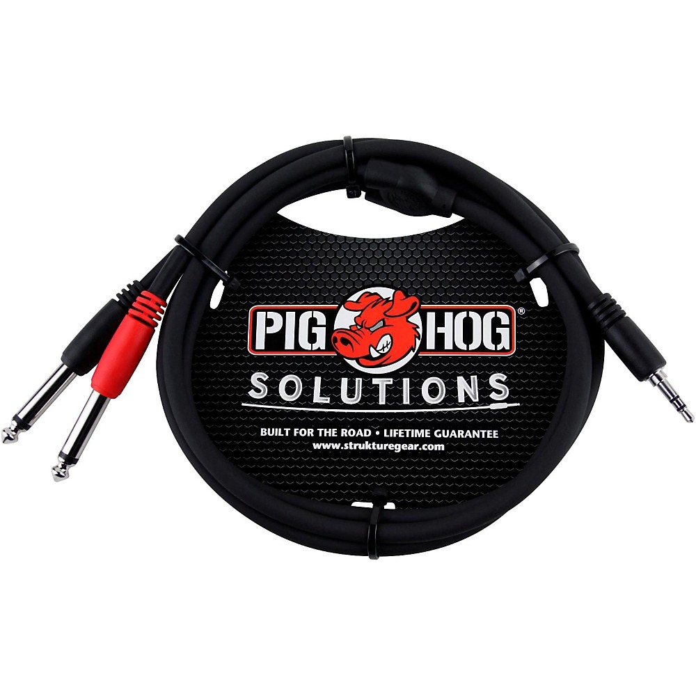 "Pig Hog Soliutions Stereo Breakout Cable 3.5mm to Dual 1/4"" (3 ft.)  3 ft."