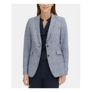 TOMMY HILFIGER Womens Blue Plaid Blazer Wear To Work Jacket  Size: 12