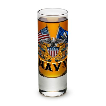 Us Navy 2 Oz  Shooter Shot Glass Double Flag Eagle Navy Shield  Case Of 36