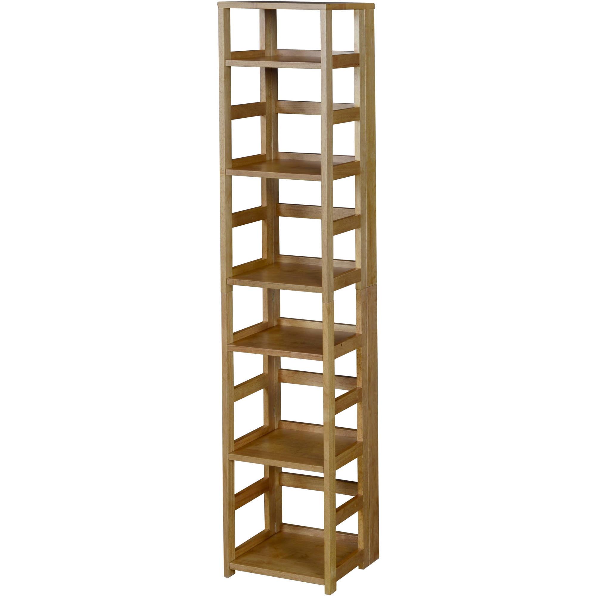 Regency Flip Flop Medium Oak 6-Shelf Square Folding Bookcase