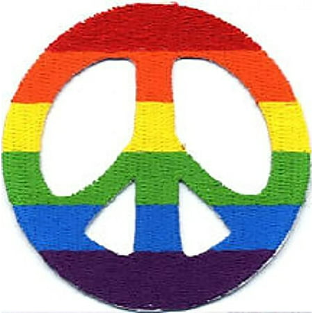 Hippie Rainbow Bold Colored Horizontal Thick Stripes Peace Symbol Iron On Embroidered Applique Patch - Mommy Patch Products