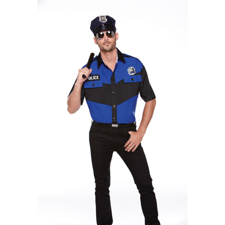 Halloween Wholesalers Men's Police Fancy Dress Costume With Hat - Blue & Black](Halloween Store Pittsburgh)