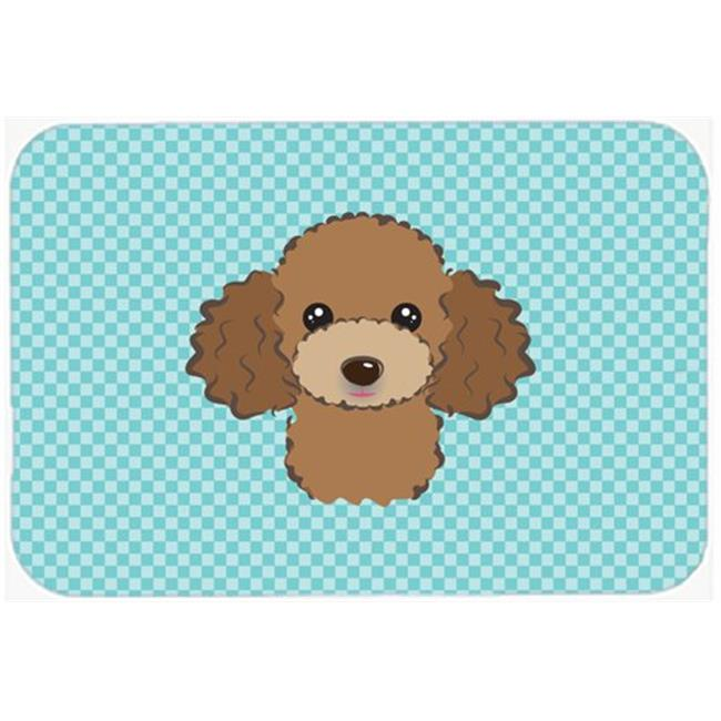 Checkerboard Blue Chocolate Brown Poodle Mouse Pad, Hot Pad Or Trivet, 7.75 x 9.25 In.