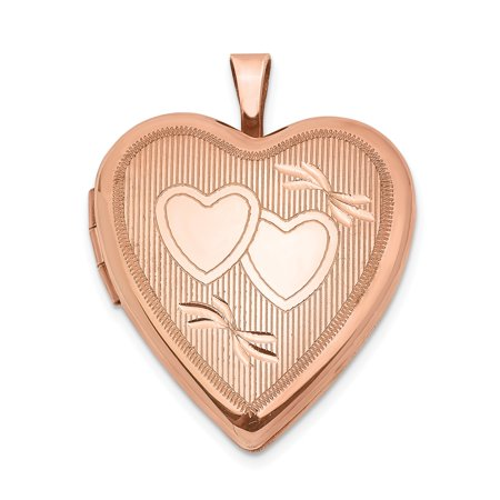 QG Sterling Silver Rose Gold-plated 20mm Double Hearts Heart Locket 20 Mm Double Hearts