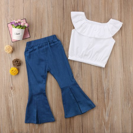 Flared Pants Outfits Kids Baby Girls Tops Vest Dress+Loose Leggings Clothes - image 3 de 5