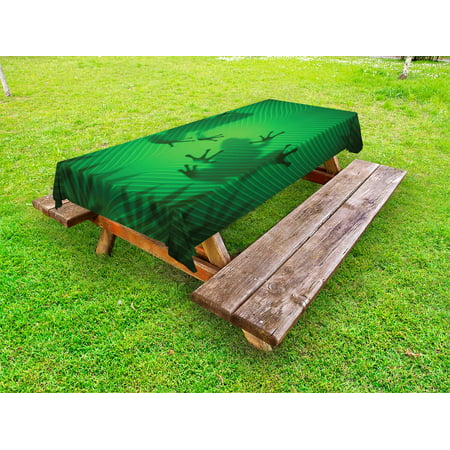 Animal Outdoor Tablecloth, Frog Shadow Silhouette on the Banana Tree Leaf in Tropical Lands Jungle Games Graphic, Decorative Washable Fabric Picnic Tablecloth, 58 X 104 Inches, Green, by Ambesonne ()