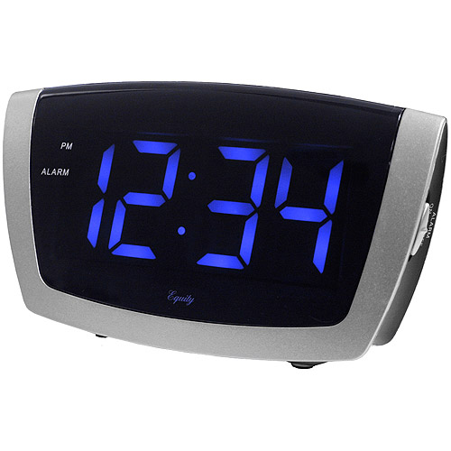 Equity by La Crosse Large Blue LED Alarm Clock with USB Charging Port for Mobile Devices