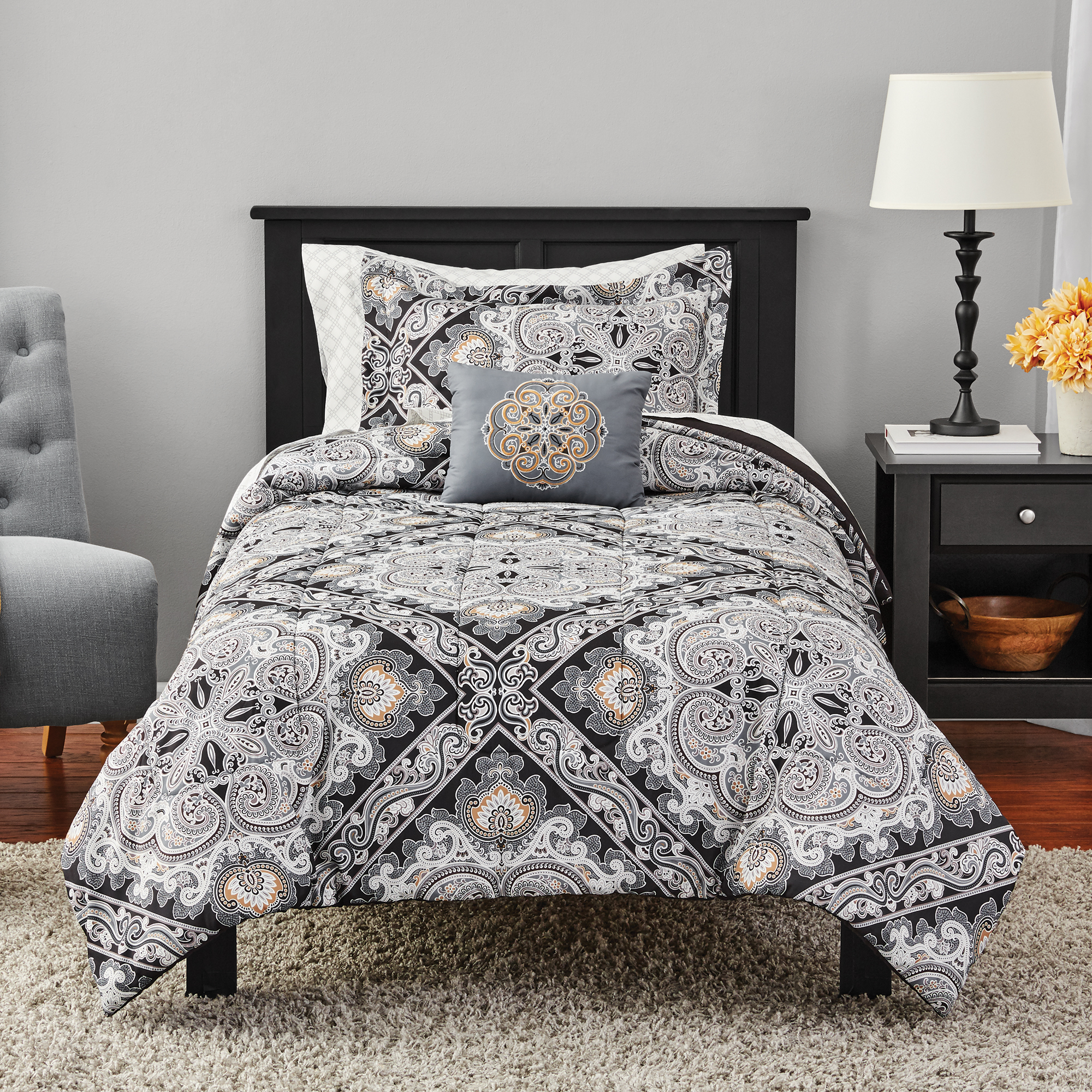 Mainstays Black Diamond Complete Comforter Bedding
