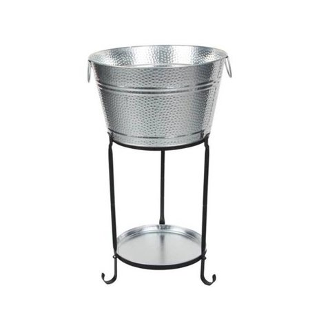 Darby Home Co Ulyana Galvanized Round Party Beverage Tub with Stand and Round Tray
