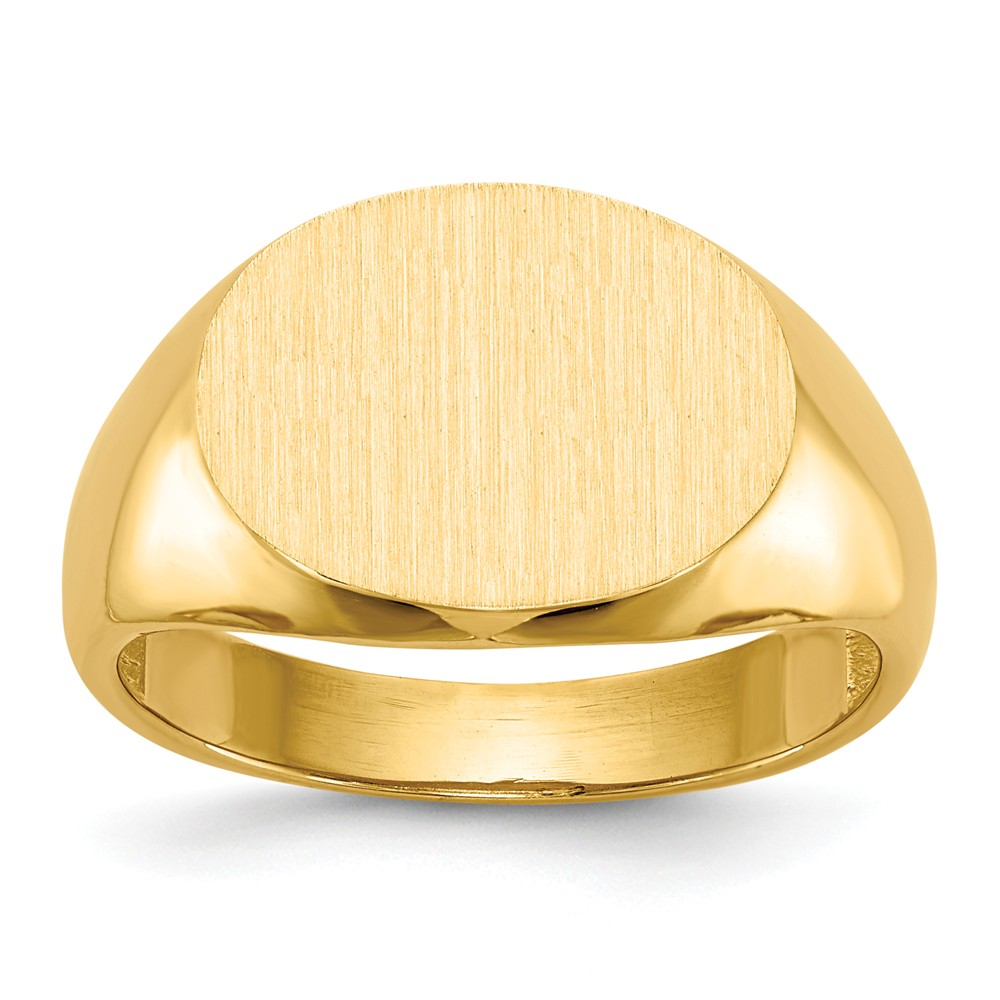 14k Yellow Gold Engravable Men's Signet Ring (12.3mm x 15.8mm face)
