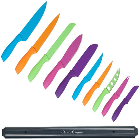 classic-cuisine Knife Set with Magnetic Bar, Colorful 10-Piece Stainless Steel Kitchen Tools, Magnet Bar for Storage and Organization - Chef Knives by Classic Cuisine