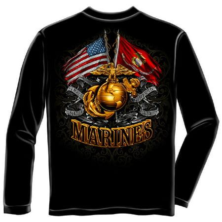 Marine Corps, USMC Long Sleeve Double Flag Gold Globe Marine Corps Black